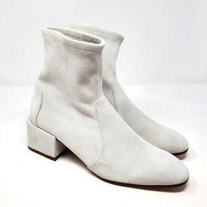 Stuart weitzman odetta white suede booties